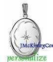Sterling silver oval diamond locket