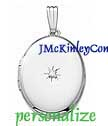 Sterling silver diamond oval locket