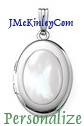 Small oval sterling silver Mother of Pearl locket