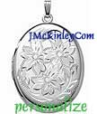 hand engraved sterling silver locket  extra large  oval loc