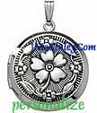 Antique Embossed floral sterling silver round locket