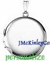 Plain sterling silver large round locket
