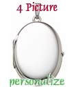 EXTRA LARGE Sterling silver four picture locket high polish