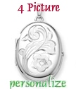 EXTRA LARGE oval four picture sterling silver locket large