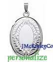 Sterling silver large oval locket floral