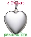 Plain MEDIUM sterling silver four picture plain heart locket