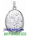 Sterling oval locket engraved floral