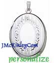 Sterling silver oval locket engravable with stripes