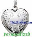 Sterling silver extra large heart locket with Flowers