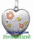 hand engraved Tri-color sterling silver locket  extra large