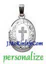 Small sterling silver oval locket cross scroll locket