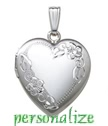 Sterling silver heart locket with flowers