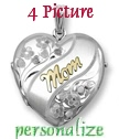 EXTRA LARGE Sterling silver four picture MOM locket
